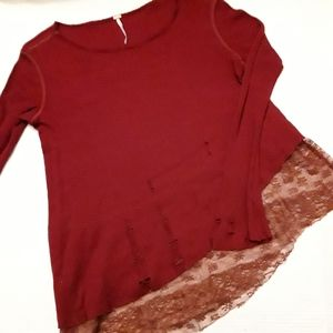 FREE PEOPLE | burgandy distressed lace top